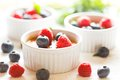 Creme brulee french with fresh berries and mint leaves Stock Image