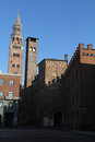 Cremona: the palace of commune and the Torrazzo Royalty Free Stock Photo