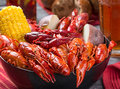 Creole style crawfish boil Royalty Free Stock Photo