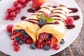 Crepe and berry fruit Royalty Free Stock Photo