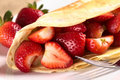 Crepe Filled with Strawberries Royalty Free Stock Images