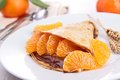 Crepe with fruit and chocolate Royalty Free Stock Photos