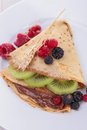 Crepe with fruit and chocolate Royalty Free Stock Image