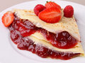 Crepe with jam Royalty Free Stock Photo