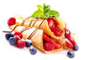 Crepes With Berries Royalty Free Stock Images