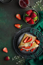 Crepes with cream cheese and fresh strawberry, Royalty Free Stock Photo