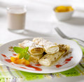 Crepes filled with curd cheese and jam Royalty Free Stock Photos
