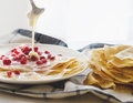 Crepes Pomegranate condensed Milk Royalty Free Stock Photo