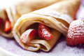 Crepes with strawberries Royalty Free Stock Images