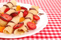 Crepes with strawberry pancakes srawberry and chocolate Royalty Free Stock Images