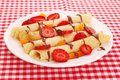 Crepes with strawberry pancakes srawberry and chocolate Royalty Free Stock Photography
