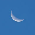 Crescent moon in the night sky Royalty Free Stock Photo