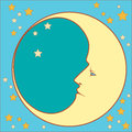 Crescent moon profile in with stars in squared Royalty Free Stock Photo