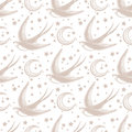 Crescent moon seamless pattern with swallow.