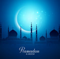 Crescent Moon and Silhouette Mosque for Ramadan Kareem Background