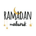 Crescent moon and star for Holy Month of Muslim Community, Ramadan Kareem greeting element