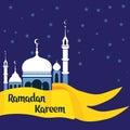 Crescent moon with white mosque for muslim community festival Eid Al Fitr Mubarak.