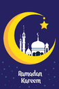 Crescent moon with white mosque for muslim community festival Eid Al Fitr Mubarak.