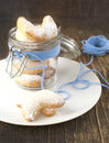 Crescents vanilla and almond cookies in jar Stock Photo