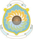 Crest pattern with ribbons and sunflower Royalty Free Stock Photography