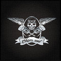 Crest with skull wings and pistons bikers soul silver Stock Image