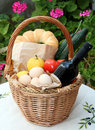 Cretan shopping basket and food Stock Photos