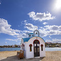 Cretan village church image of traditional white washed in a on crete greece Royalty Free Stock Image