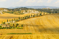 Crete senesi characteristic landscape in val d orcia siena tuscany italy typical farm Stock Photos