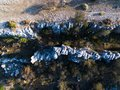 Ariel view of Crevasses and rocks