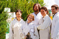Crew of bee keepers profile five Stock Images