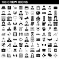 100 crew icons set, simple style