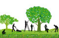 Crew of Landscapers Working Outdoors Royalty Free Stock Photo