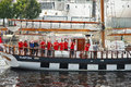 Crew of the ship during the tall ships races riga latvia july th second stage world cup in riga view in andrej harbo Stock Images