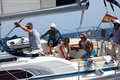 Crew of the yacht during the race Royalty Free Stock Photo