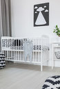 Crib in baby room Royalty Free Stock Photo