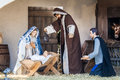 Crib nativity scene in San Pietro. Baby Jesus with Madonna. Royalty Free Stock Photo