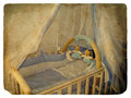 Crib. Old postcard. Royalty Free Stock Photo