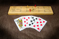 Cribbage Board and Cards Royalty Free Stock Photo