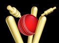 Cricket Ball Breaking Wicket Stumps Royalty Free Stock Photo