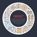 Cricket banner with line icons of ball, bat, field, wicket, helmet, apparel and other equipment. Vector circle