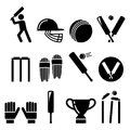Cricket bat, man playing cricket, cricket equipment - sport icons set Royalty Free Stock Photo