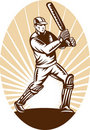 Cricket batsman batting woodcut Stock Image