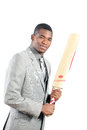 Cricket batting is a gentleman s game Royalty Free Stock Image