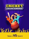 Cricket Championship template or flyer design with cricket equipments and cricket players