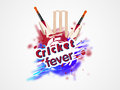Cricket fever concept with bat and wicket stumps colorful splash for on white background Royalty Free Stock Image