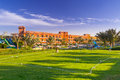 Cricket field at the tropical resort in hurghada egypt three corners sunny beach on april three corners is belgian company with Stock Photos