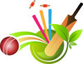Cricket logo illustration art of a ball bat and wickets Royalty Free Stock Photography