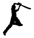 Cricket player with bat batsman shadow white background Stock Photography
