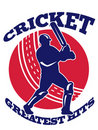 Cricket player batsman batting retro Royalty Free Stock Images