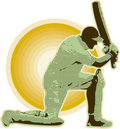 Cricket player batsman batting retro Royalty Free Stock Photography